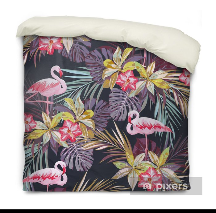 Tropical summer seamless pattern with flamingo birds and exotic plants Duvet Cover -