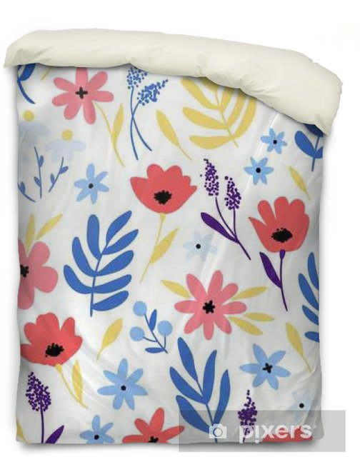 Vector floral pattern with flowers and leaves. Duvet Cover - Plants and Flowers