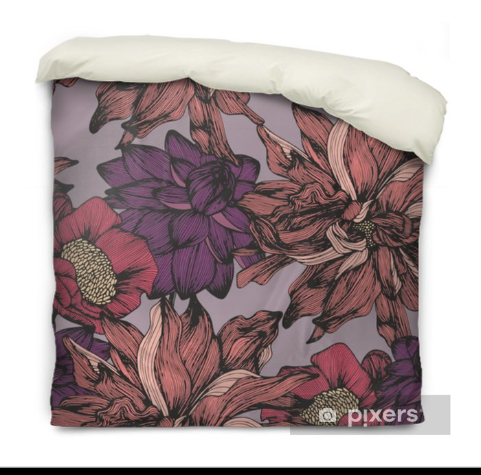 Vector seamless pattern with complex detailed colors. Hand drawing Duvet Cover - Plants and Flowers