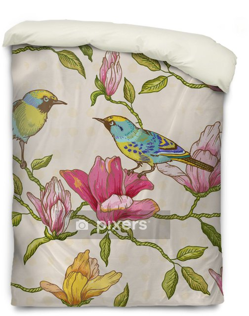 Vintage Seamless Background - Flowers and Birds Duvet Cover - Seasons
