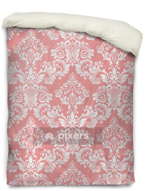 Wallpaper in the style of Baroque. A seamless vector background. White and pink floral ornament. Graphic pattern for fabric, wallpaper, packaging. Ornate Damask flower ornament Duvet Cover - Graphic Resources