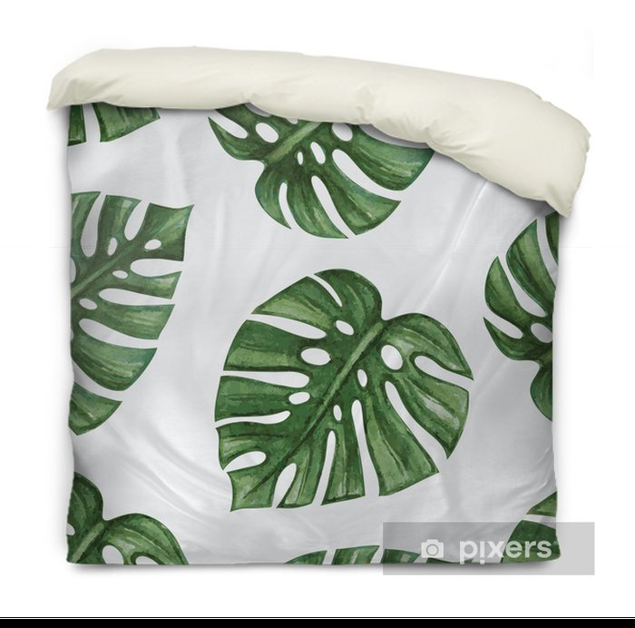 Watercolor tropical palm leaves seamless pattern. Vector illustration. Duvet Cover - Backgrounds