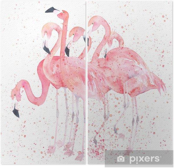 Dyptyk Akwarela flamingi z splash. malowanie obrazu - Zwierzęta