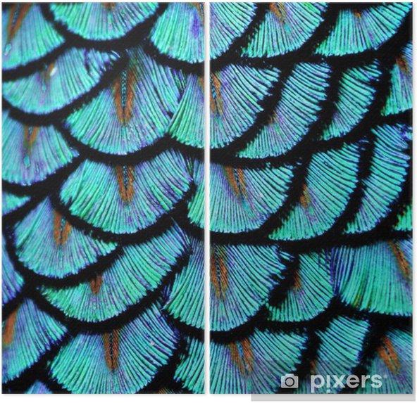 Dyptyk Blue feathers - Zwierzęta