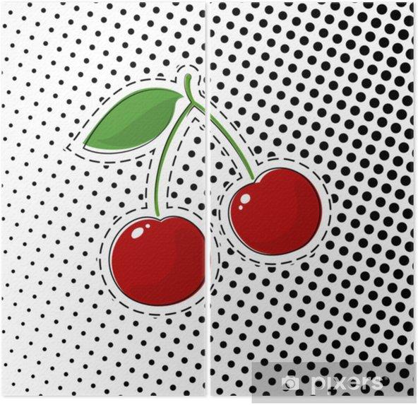 Dyptyk Czerwona wiśnia naklejki na białym tle z czarnymi kropkami, pop półtonów tło, szpilki lub łatki, w stylu retro, ilustracji wektorowych - Zasoby graficzne