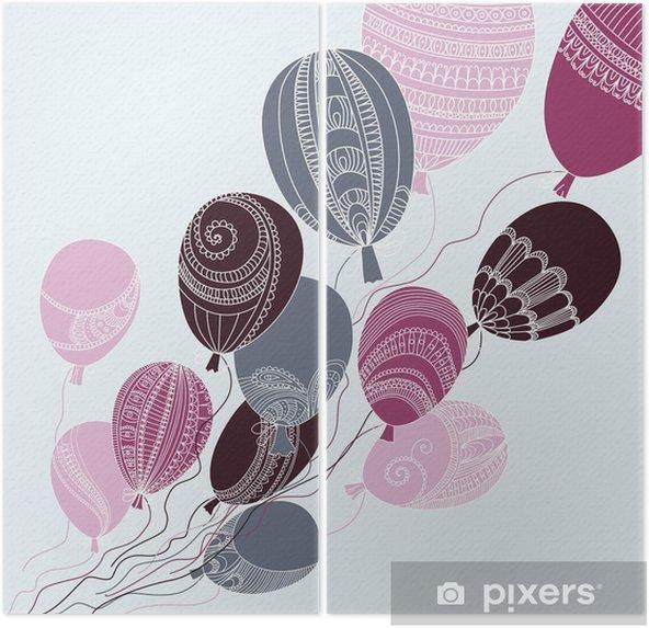Dyptyk Ilustracja z kolorowych balonów latających - Do pokoju dziecięcego