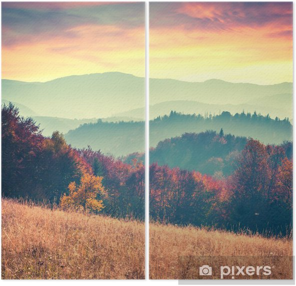 Dyptyk Kolorowa jesień świt w Karpatach - Krajobrazy
