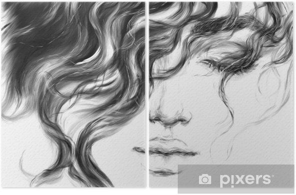 Dyptyk Młoda kobieta. ilustracja moda. - Ludzie