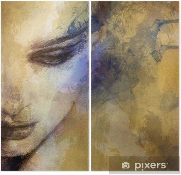 Dyptyk Piękna twarz kobiety. Akwarele ilustracji - Style