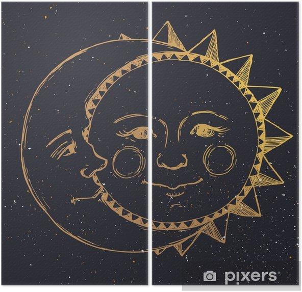 Dyptyk Ręcznie rysowane słońce z księżycem - Zasoby graficzne