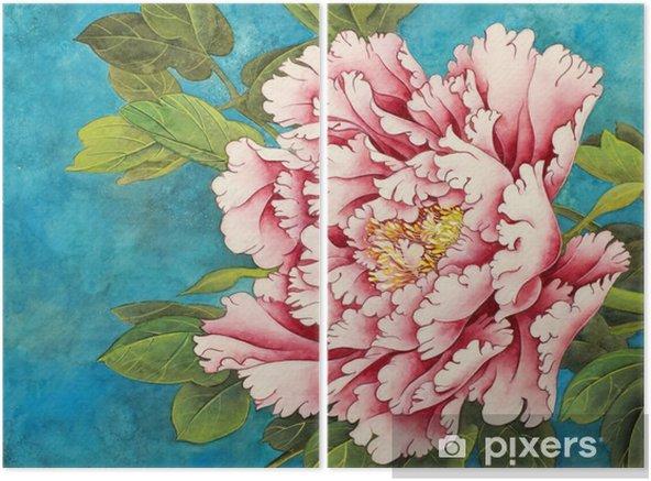 Dyptyk Różowa piwonia na niebieskim tle - Rośliny i kwiaty