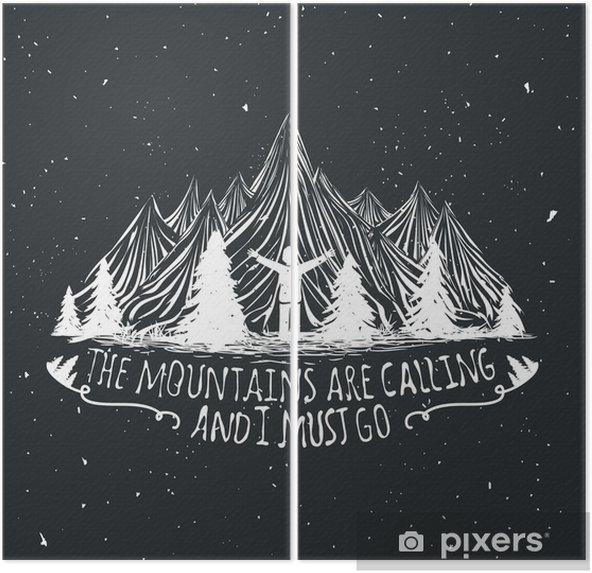 Dyptyk Wektor pustyni cytat plakatu z sylwetką człowieka, gór i lasów - Krajobrazy