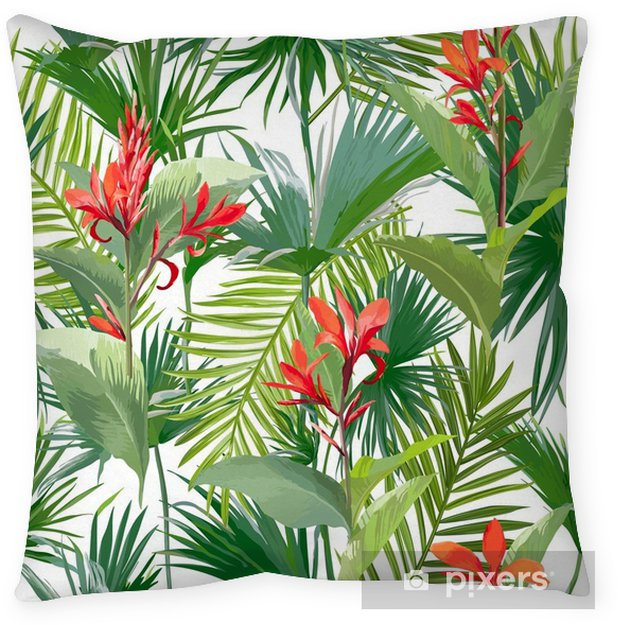 Federa per cuscino Foglie di palma e fiori tropicali, la giungla lascia il fondo floreale del modello di vettore senza cuciture - Piante & Fiori