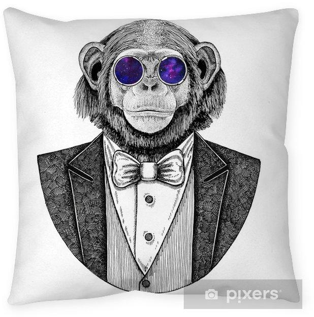 Federa per cuscino Illustrazione disegnata a mano animale scimmia hipster scimpanzé per tatuaggio, emblema, distintivo, logo, patch, t-shirt - Stili di vita