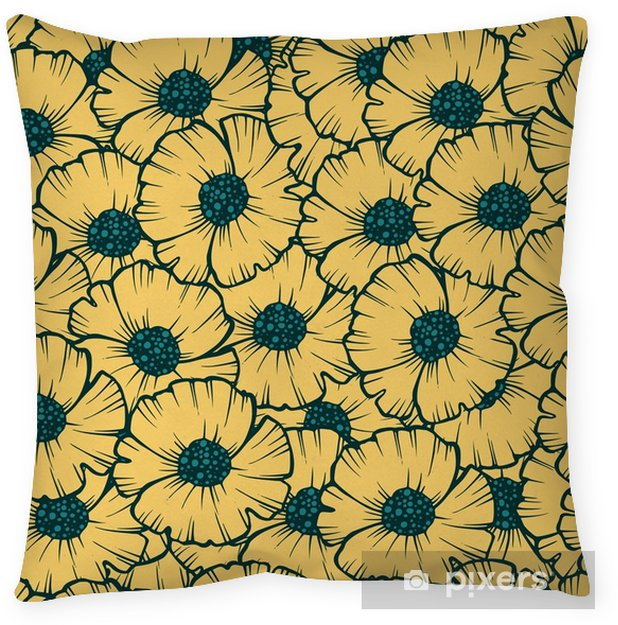 Federa per cuscino Illustrazione vettoriale di papavero seamless pattern per tessuto, carta da parati, confezioni regalo, cartoline, auguri e invito. - Piante & Fiori