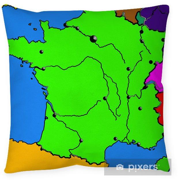 Federa Per Cuscino Mappa Della Francia Mari Le Citta I Fiumi Il Colore Del Bordo