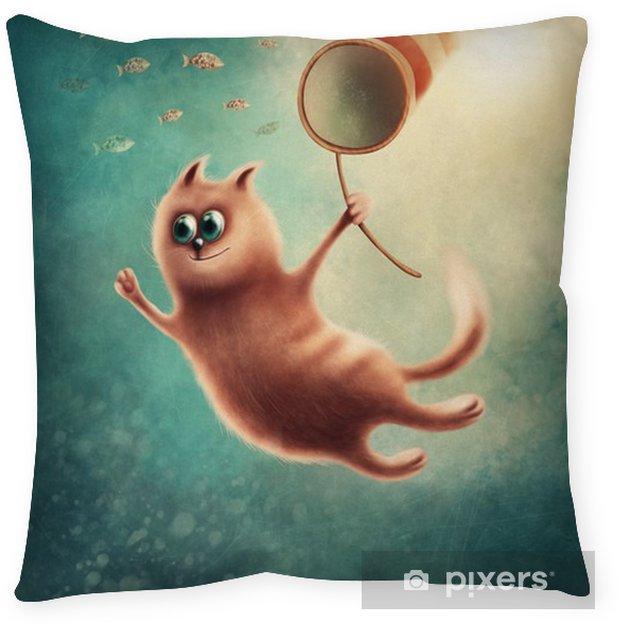 Federa per cuscino Red Cat cattura pesci - Animali