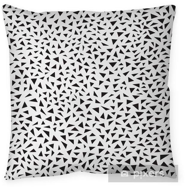 Federa per cuscino Sfondo astratto con triangoli neri, modello seamless, illustrazione vettoriale - Risorse Grafiche