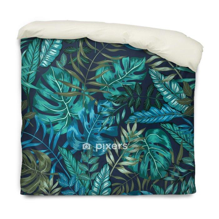 Federa per piumoni Senza soluzione di continuità grafica artistica tropicale modello giungla, moderna elegante fogliame sfondo allover stampa con foglia divisa, filodendro, foglia di palma, felce fronda - Risorse Grafiche