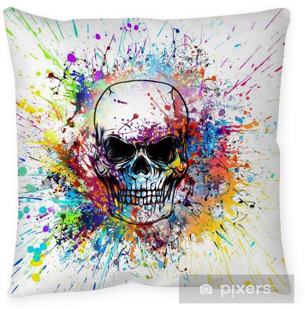 Рисованный симметричный череп с гранж красочным узором Floor Pillow - Graphic Resources