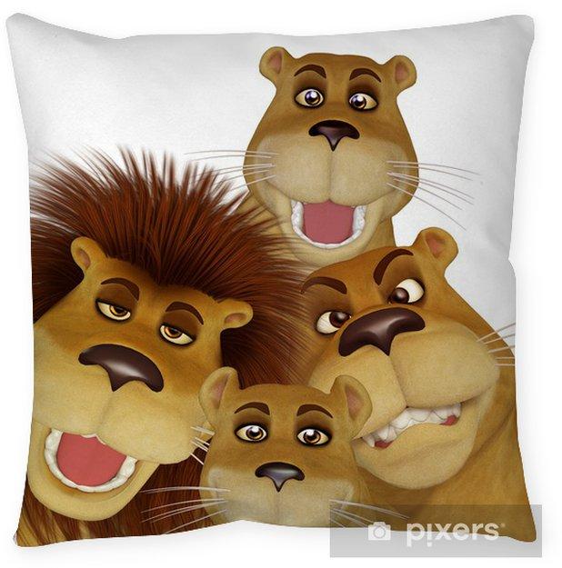 3d Cartoon Lion Family Floor Pillow • Pixers® • We Live To