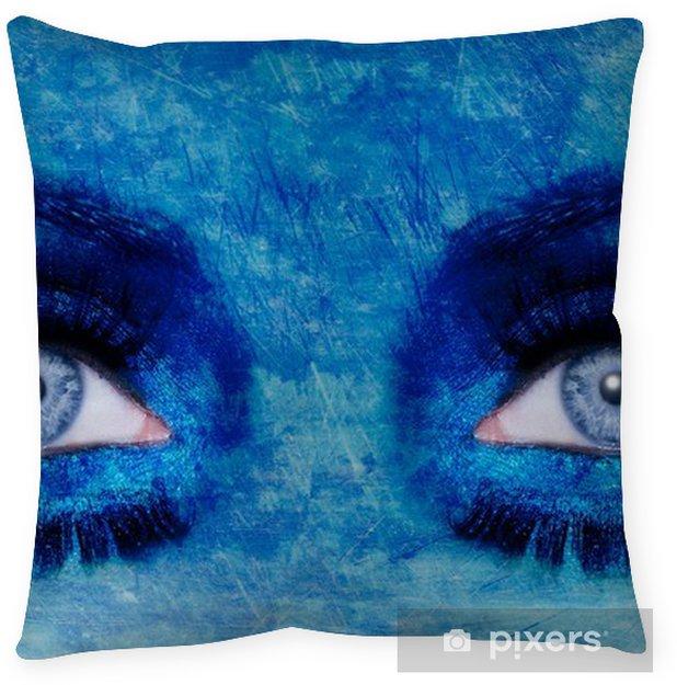 Abstract Blue Eyes Makeup Woman Grunge Texture Floor Pillow