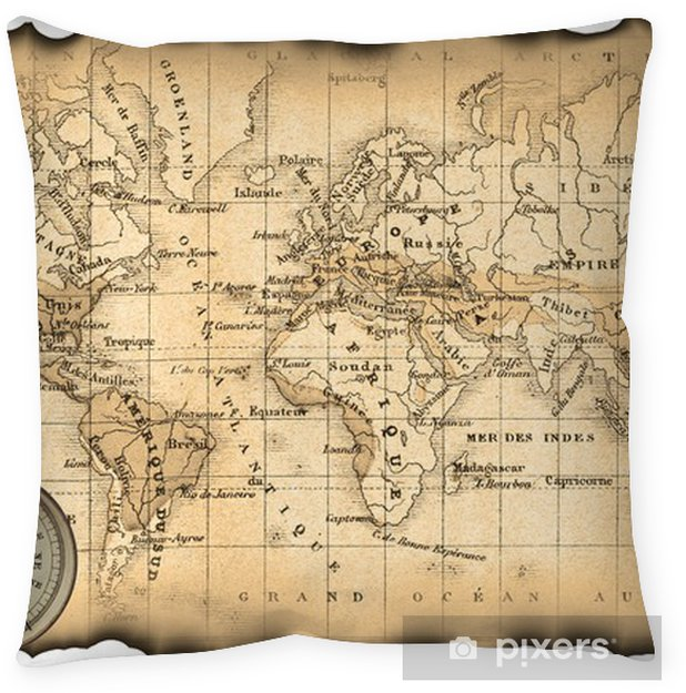 Ancient map of the world  Compass Floor Pillow