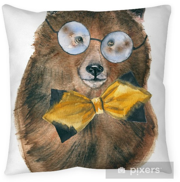 Bear Animals Hipsters Street Style Children S Ilration Watercolor Floor Pillow