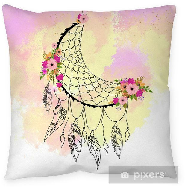 Boho Style Hand Drawn Dream Catcher With Ethnic Floral Pattern Arrow And Feathers Floor Pillow