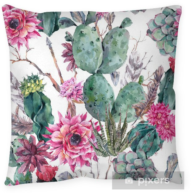 Cactus Watercolor Seamless Pattern In Boho Style Floor Pillow