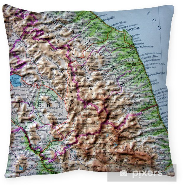Cartina Geografica Marche.Carta Geografica Di Umbria E Marche Floor Pillow
