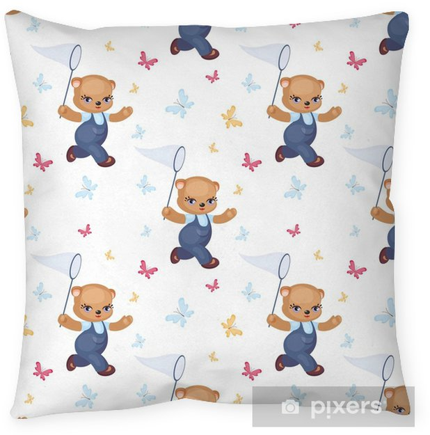 Children S Seamless Pattern With The Image Of A Cute Teddy Bear Vector Background Floor Pillow