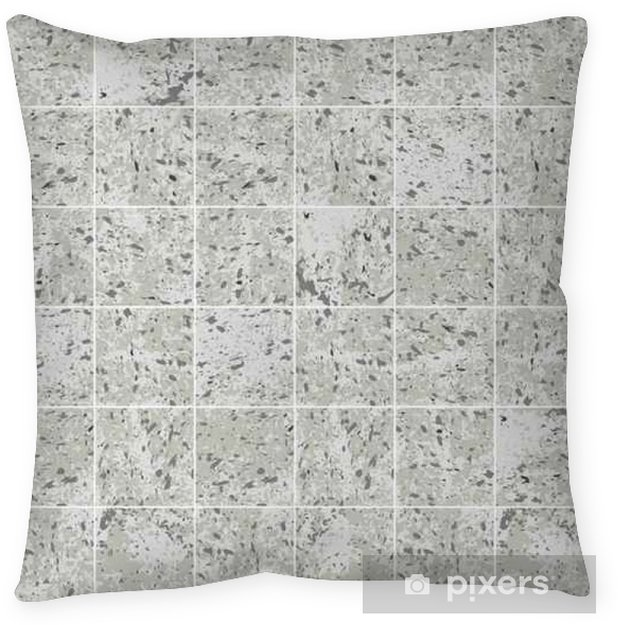 Concrete square tile grey grunge texture seamless pattern, vector Floor  Pillow