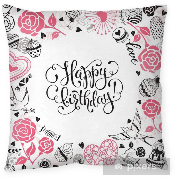 Happy Birthday greeting card. Romantic circle frame from hearts ...