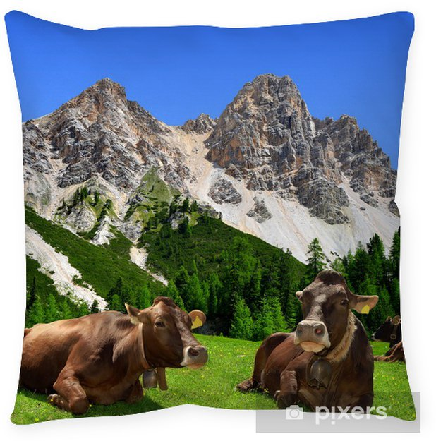 Living Room Art Cafe Social Club Kadıköy: Herd Of Cow In Dolomite Alps,Italy Floor Pillow • Pixers