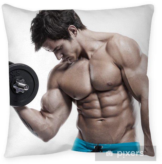Muscular bodybuilder guy doing exercises with dumbbells over whi Floor  Pillow