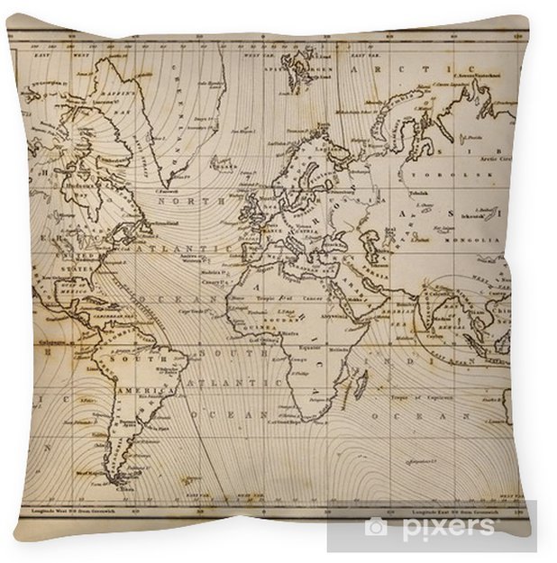 Old hand drawn vintage world map Floor Pillow