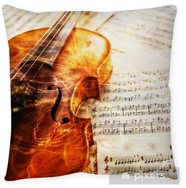 Old violin lying on the sheet of music Floor Pillow