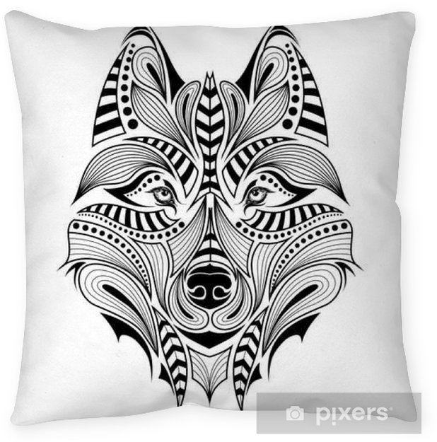 Patterned Colored Head Of The Wolf African Indian Totem Tattoo Design It May Be Used For Design Of A T Shirt Bag Postcard And Poster Floor