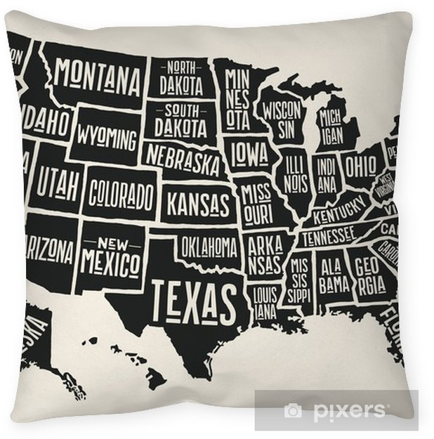 Poster map of United States of America with state names. Black and ...