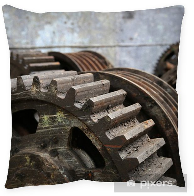 rusty old metal gadgets in an abandoned ship factory Floor Pillow