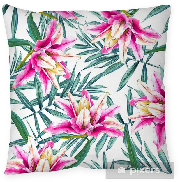 Seamless tropical floral pattern watercolor exotic flowers of pink seamless tropical floral pattern watercolor exotic flowers of pink lilies and palm branches on white background textile design floor pillow mightylinksfo
