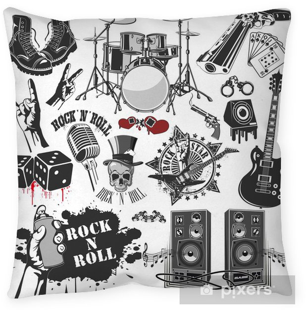 f9ae0de70 set of vector symbols related to rock and roll Floor Pillow • Pixers ...