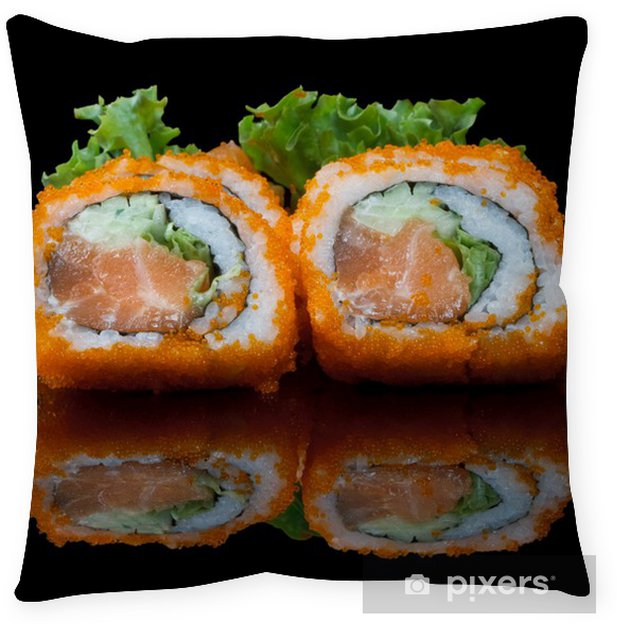 sushi with flying fish eggs Floor Pillow