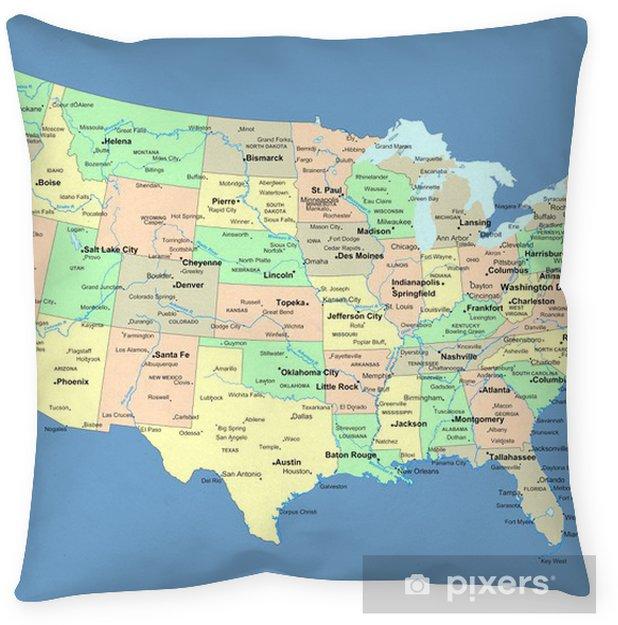 USA map with names of states and cities Floor Pillow