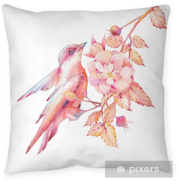 Watercolor Bird And Blossom Rose Branch Blush Pink Illustration Of Finch Isolated On White Background Natural Design With Leaves Berries Flowers