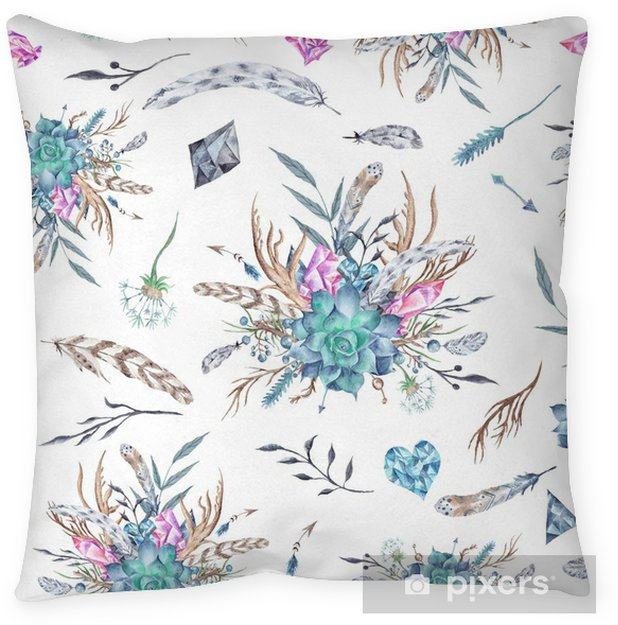 Watercolor Boho Pattern Floor Pillow - Graphic Resources