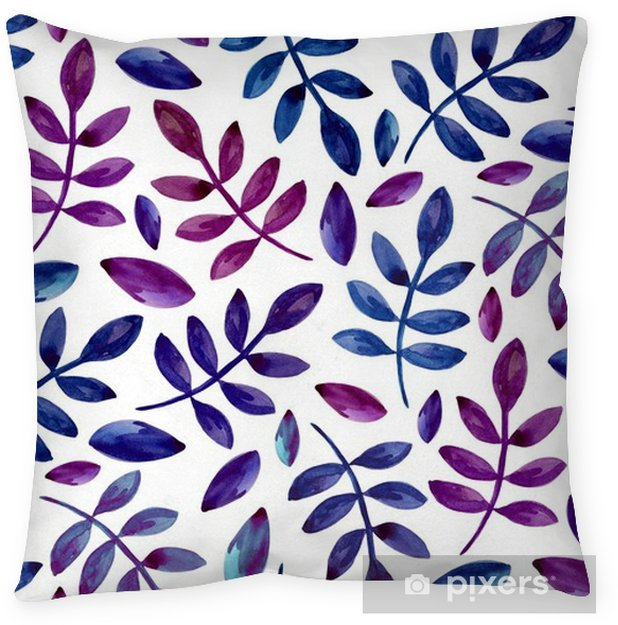 Watercolor purple and blue leaves pattern. Botanical seamless background Floor Pillow - Graphic Resources