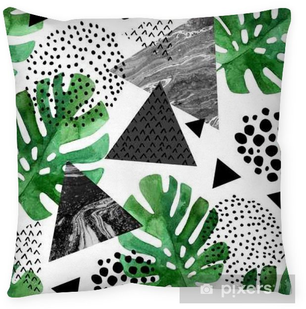 watercolor tropical leaves and textured triangles background Floor Pillow - Graphic Resources