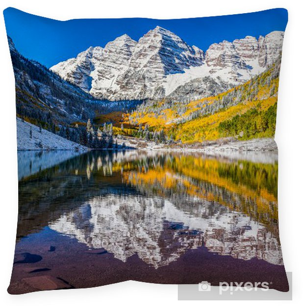 Winter And Fall Foliage In Maroon Bells Aspen Co Floor Pillow